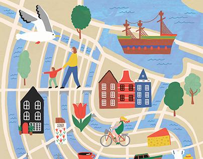 AMSTERDAM ILLUSTRATED MAP