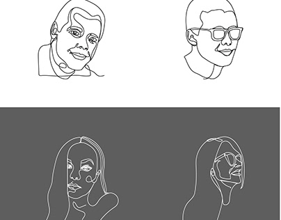 One line portraits | illustration