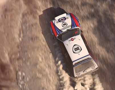 Full CGI Lancia Delta Integrale motion shot