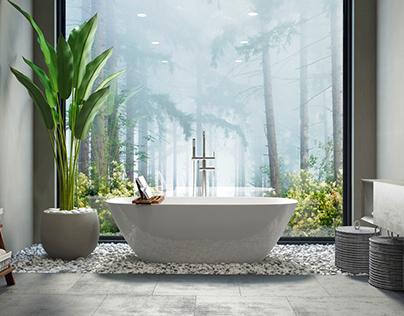 Bathroom wood & stone