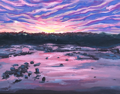 Richmond sunset, 10x20 in acrylic on canvas