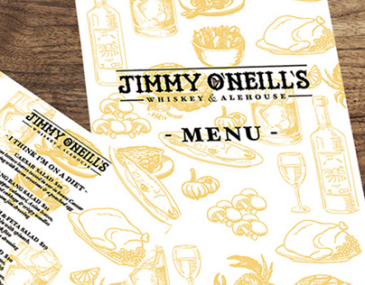 Jimmy O'Neill's - Logo, menu and opening night graphic