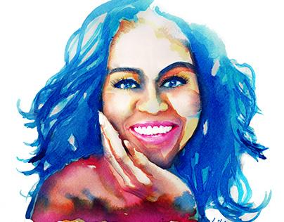 Michelle Obama Illustration Portrait