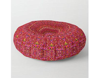 Red Jungle Mandala Floor Pillow