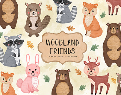 Woodland Friends Character Illustration