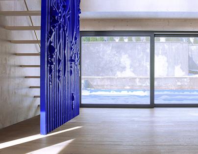 Ultramarine blue staircase wall.