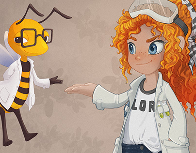 Concept art of brand characters for SmartBee Club