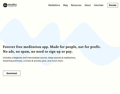 Hero page для скачивания приложения для медитации