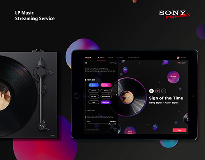 Sony Music table - LP Music streaming service