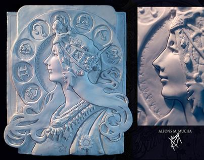 """""""Zodiac""""  by A. Mucha - sculpture"""