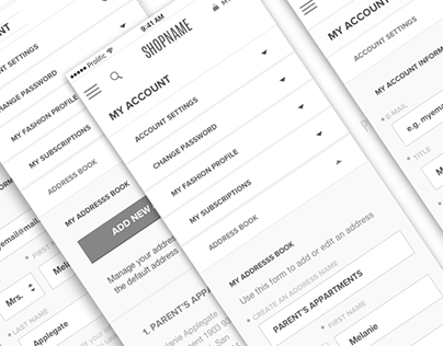 E-Commerce Responsive Wireframes. My Account / Mobile