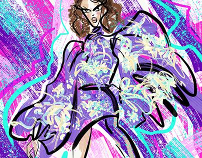 Digital fashion sketches in Photoshop Sketch