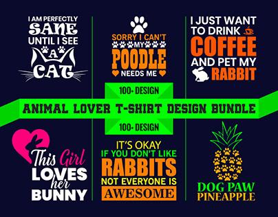 100+ BEST Selling ANIMAL LoverT-Shirts Design Bundle