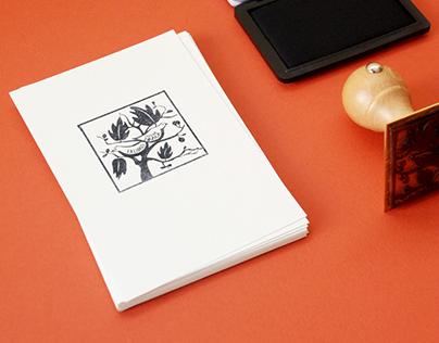 Ex libris | Bookplate | birds and fig tree