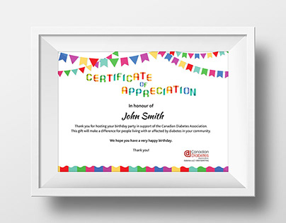 CDA Kids Birthday Donation Certificate design
