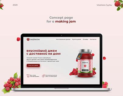 Дизайн первого экрана для сайта производителя джема