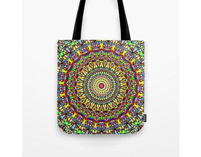 Happy Colorful Jungle Garden Mandala Tote Bag