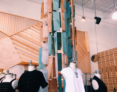 Dress Shop hanging and wall installation