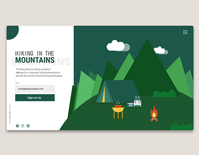 Hiking int the Mountains Landing Page
