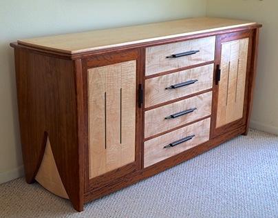 Contemporary Handmade Dresser In Bubinga & Curly Maple