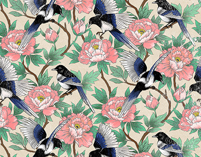 Magpie and peony