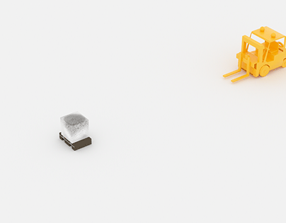 Concept advertisement DHL with LEGO forklift