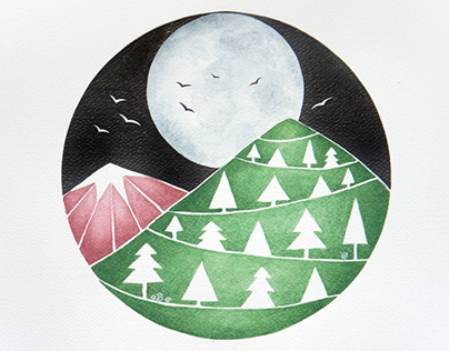 Full moon. Watercolor painting.