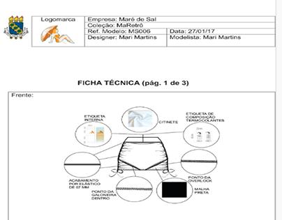 FICHAS TÉCNICAS DAS PEÇAS PROTOTIPADAS /MARÉ DE SAL.