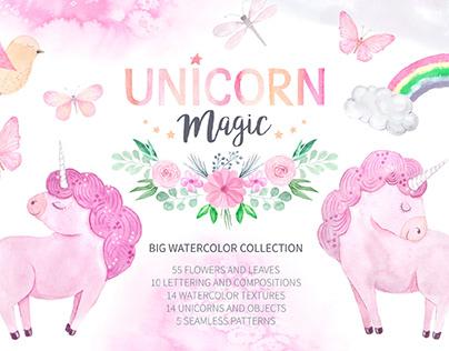 Watercolor Unicorn Magic Design Set