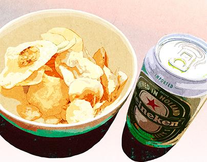 Potato chips and Heineken
