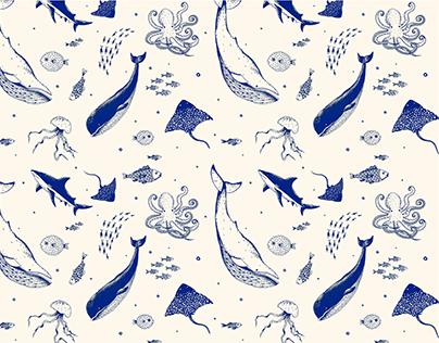 Patrón de animales marinos