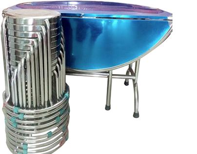 Ghế inox kèm bàn inox