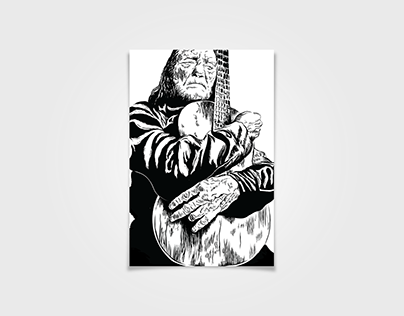 Woodcut Willie Nelson