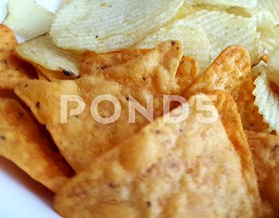 Potato Chips In White Plate