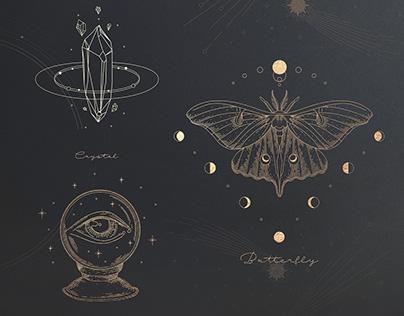 mystical set. astrological sings