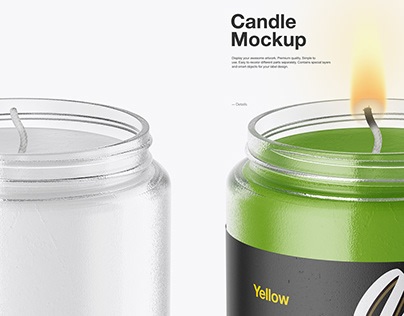 Glass Jar with Candle Mockup
