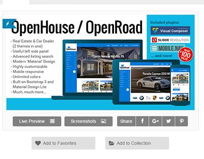 OpenHouse Real Estate and OpenRoad Car Dealer Responsiv