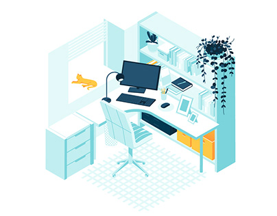 Isometric Interior vector illustration concepts