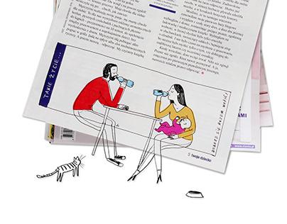 """Illustrations for magazine """"Twoje Dziecko"""" 2016-2017"""