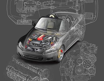 Honda S2000 technical cutaway illustrations.