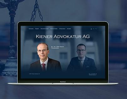 Kiener Advokatur AG. Website design, UX design.