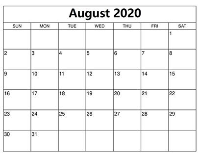 August Calendar 2020