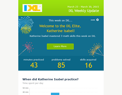 IXL Email design with different headers