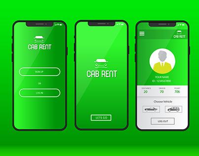 CAB RENT : UI/UX for mobile car rent app
