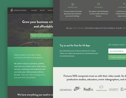 SproutVideo Responsive Marketing Site Redesign