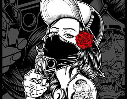 women gangster handling gun