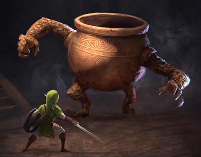 Link meets the Elden Ring Pot Goblin