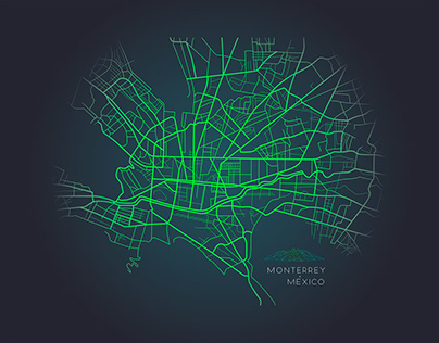 Monterrey Mex mapa / Illustration