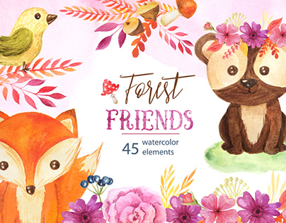 Watercolor Cute Forest Animals and Floral Elements