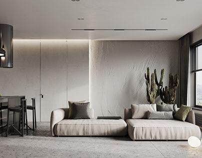 Minimalistic living room and kitchen interior